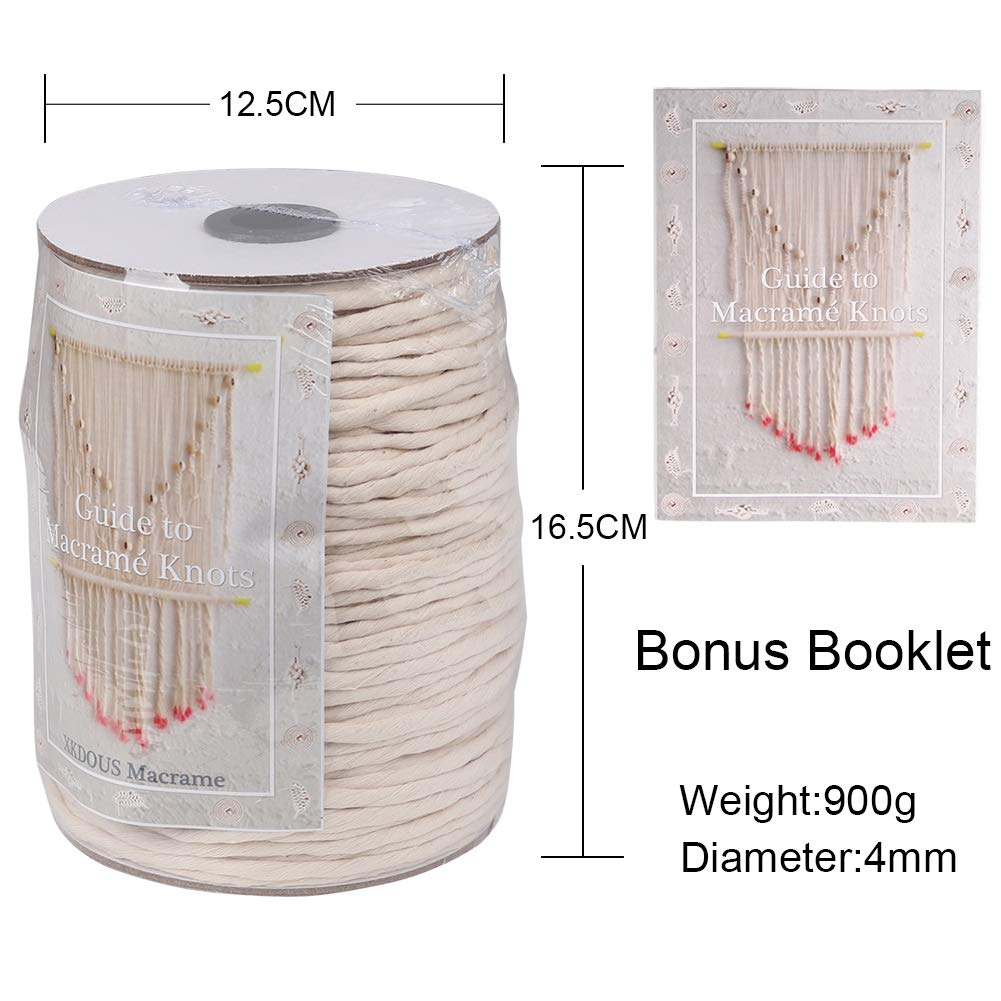 Crafts Plant Hangers XKDOUS Macrame Cord 3mm x 328Yards Decorative Projects Natural Cotton Macrame Rope for Wall Hanging Soft Undyed Cotton Cord Knitting