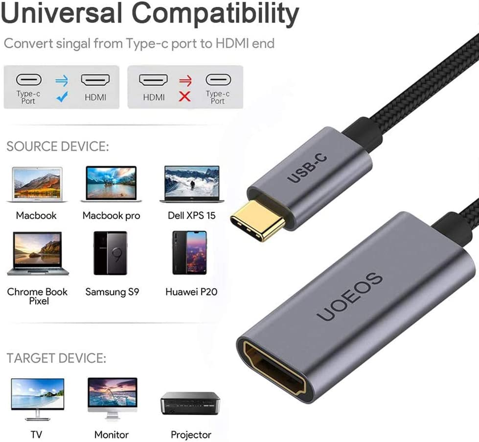USB C to HDMI Adapter 4K Cable,uoeos USB 3.1 Type-C to HDMI Adapter Compatible with MacBook Pro HDMI to USB C Adapter(Female to Male)