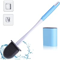 Hianjoo Toilet Brush and Holder Set, Soft Flat Flexible Bathroom Cleaning Bowl Brush Head with Silicone Bristles, Water…