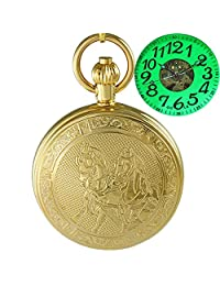 OGLE Waterproof Golden Horse Chain Large Digital Noctilucence Fob Self Winding Automatic Skeleton Mechanical Pocket Watch