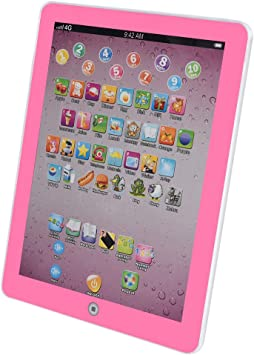 MINIKID Kids Learning Tablet 8 in 1 Toddler English Language Educational Tablets Baby Early Education ABC Toys Children Study Learning Machine for Girls Boys Birthday Gift【US Fast Shipment】 Pink