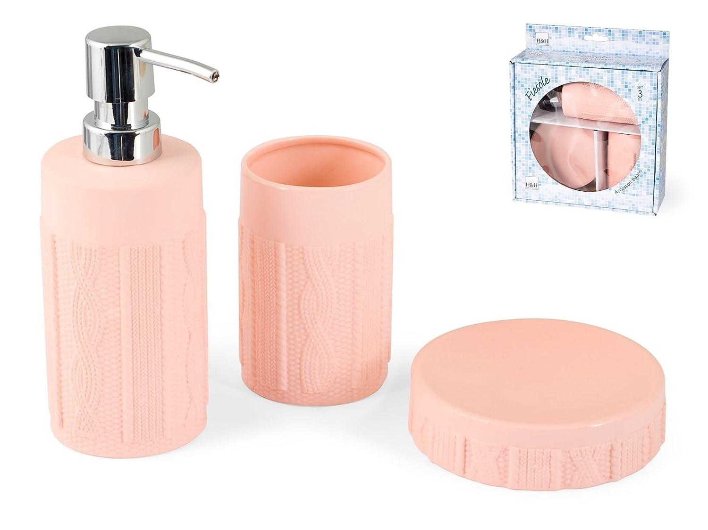 H& H Pengo H1310378A Set Bagno, Ceramica Fiesole, 3 Pezzi, Rosa, 22x8x25 cm, 3 unità