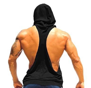 78cd77ecd ARESHION Men's Muscle Cut Bodybuilding Stringer Hoodie Gym Tank Top  Racerback Hoodie Tee: Amazon.co.uk: Clothing
