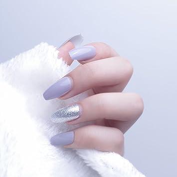 24pcs 12 diferentes tamaño ataúd elegante plateado con purpurina sólido gris largo completo para uñas postizas con diseño: Amazon.es: Belleza