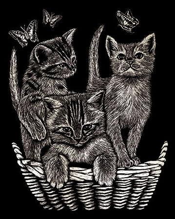 Kratzbilder - Kratzbild - Scraper Katze - Katzen im Körbchen ...