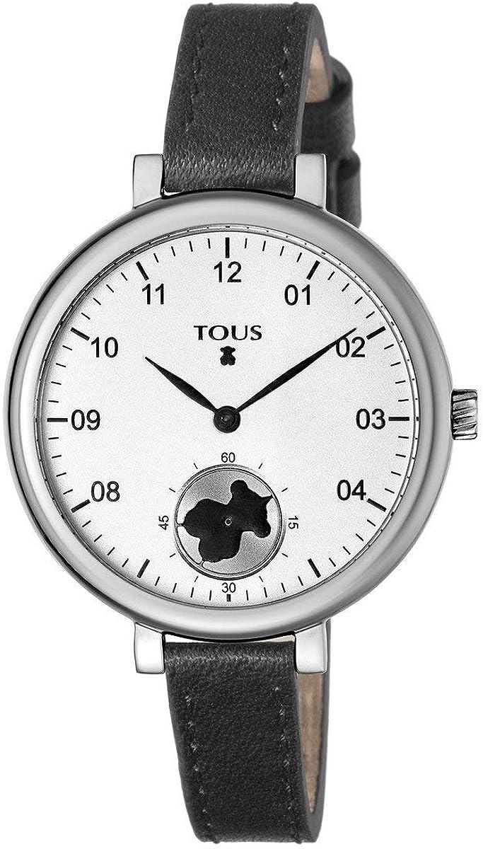 Reloj Tous Spin de acero con correa de piel negra Ref:600350430