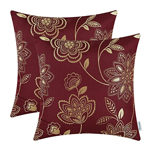 Pack of 2 CaliTime Cushion Covers Throw Pillow Cases Shells for Home Couch Sofa, Dahlia Floral, 18 X 18 Inches, Burgundy (Gold And Accent Red Pillows)