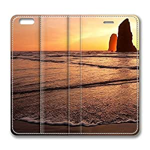 Iphone 4/4S Case, Iphone 4/4S Leather Case, Fashion Protective PU Leather Slim Flip Case [Stand Feature] Cover for New Iphone 4/4S - Golden Sea Rocks