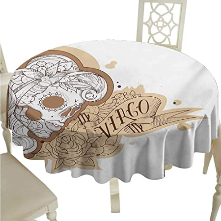 Mantel Redondo de Vinilo con diseño del zodíaco Virgo, Retrato ...