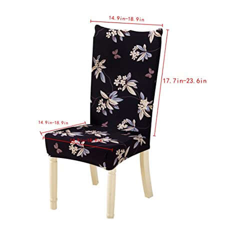 Tomtopp Dining Chair Cover Protector Removable Conjoined Stretchy Floral Chair Seat Cover for Hotel Home Stool (Flower Black)