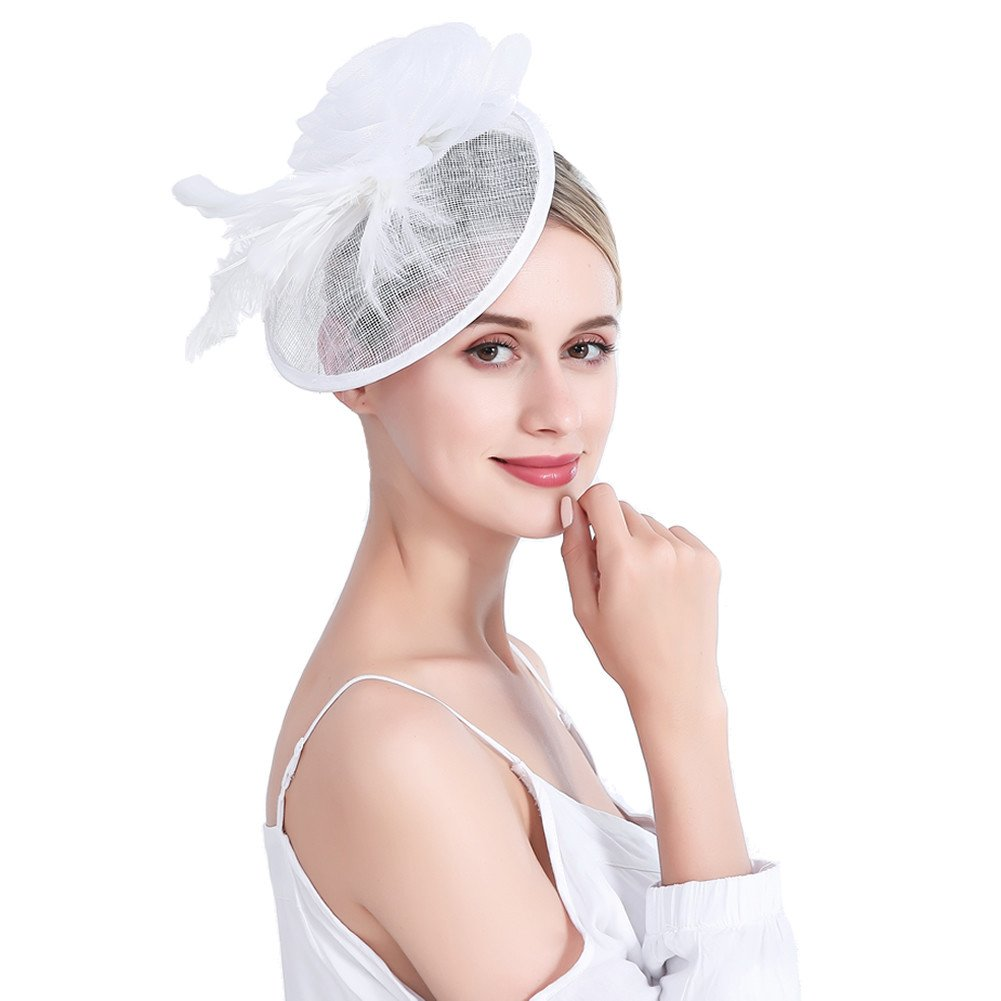 inSowni Flower Tea Party Sinamay Fascinators Hat Cap Feather Mesh Headband Clip for Women Girls (White S2)