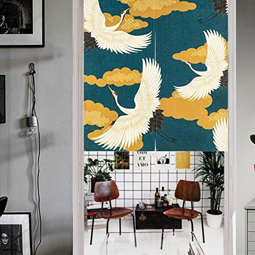 MR FANTASY Japanese Noren Doorway Curtain/Tapestry Crane Noren Door Curtain Panel Room Divider 33