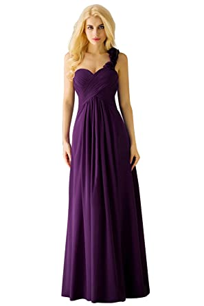 0843ba22531ff Women's Chiffon One Shoulder Bridesmaids Dresses 2018 Wedding Guest Dress  Purple,Size 2