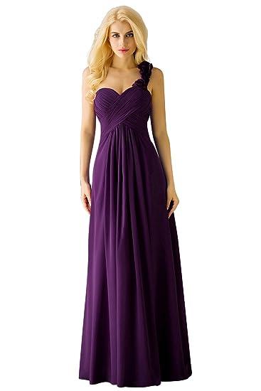 Yucou Womens Bridesmaid Dresses Chiffon One Shoulder Prom Evening