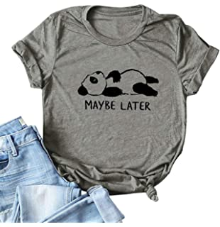 5e336f81c37139 Womens Cute Funny Animal Panda Maybe Later Print Short Sleeve Graphic Tees  T-Shirts Tops