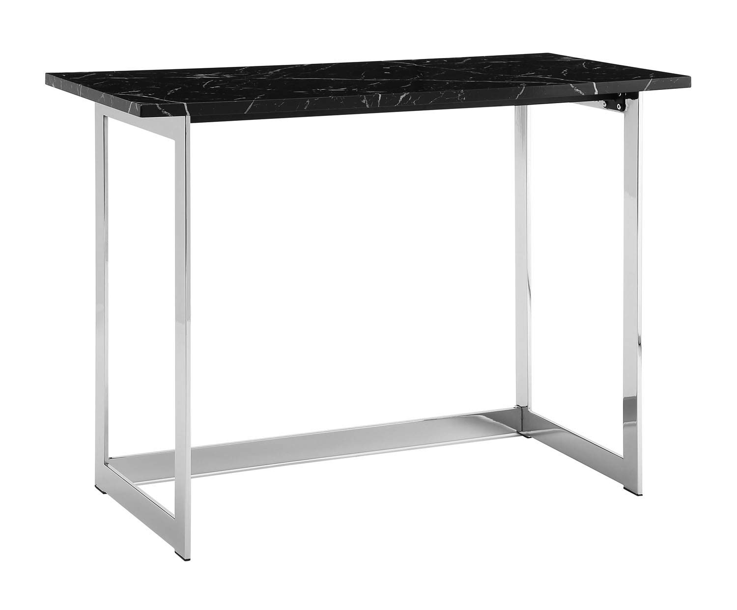 42 inch Faux Black Marble Desk with with Chrome Base