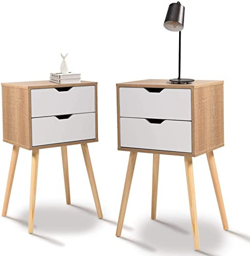 JAXPETY Set of 2 Nightstand 2 Drawers End Table Storage Wood Cabinet Bedroom Accent Side Table White Walnut