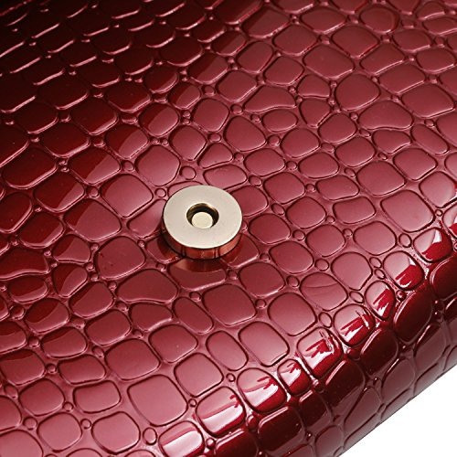 Evening Skin Envelope Bag Party Embossed Womens Patent Wine Clutch Red Croc X5dSXwq