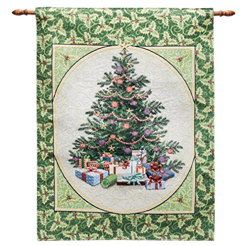 Arelux Novelty Christmas Wall Tapestry | Traditional Christmas Wall Hanging | 36 x 26-inch Fiber-Optic Wall Hanging | Twinkle Light Xmas Tree Ilex Aquifolium Xmas Wall Decor | Xmas Party Decoration