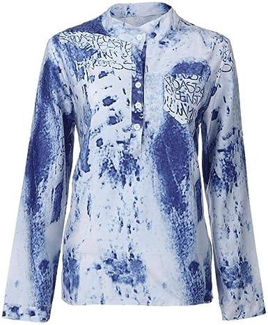 Camisa Mujer Primavera Blusas Impresión Otoño Elegantes Casual Manga Largo Especial Estilo Camisas Fashion con Bolsillos Botonadura Retro Top Shirts: Amazon.es: Ropa y accesorios
