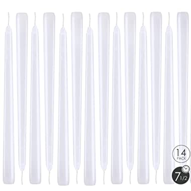XYUT Elegant Taper Candles 10 Inches Tall Premium Quality Candles Set of 14 (White)