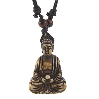 symbol om ox buddhist pendant bone products body design necklace rope oz