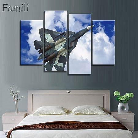 4 Pièces Peinture Avion De Chasse Avion Modèle Mur Art