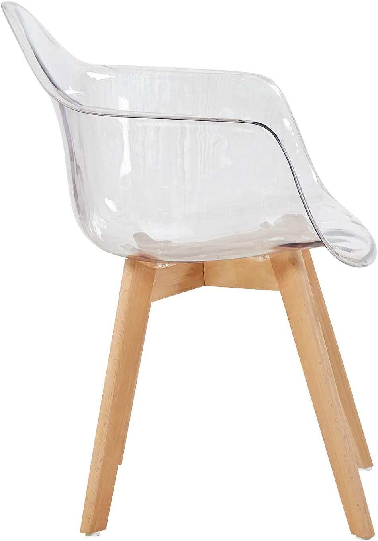 H.J WeDoo Lot de 2 Transparente Scandinave Chaises de Salle /à Manger R/étro Fauteuil de Salon en Polycarbonate arri/ère et Bois de h/être Massif Transparente