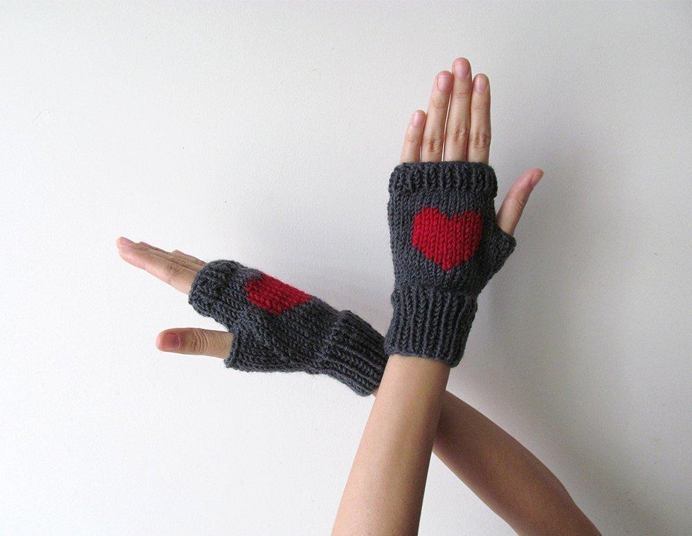 Knit Fingerless Gloves in Dark Grey, Dark Red Embroidered Heart, Heart Gloves, Fingerless Mittens, Arm Warmers, Wool Blend