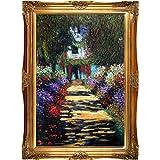 Reproducción pintada a mano de Claude Monet Garden Path en Giverny Framed Oil Painting, 24 x 36