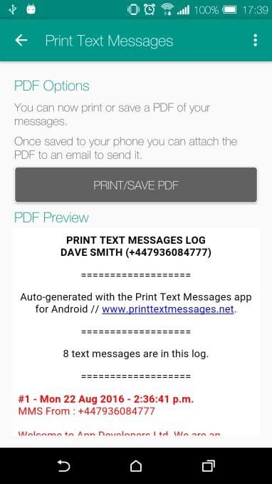 Amazon com: Print Text Messages: Appstore for Android