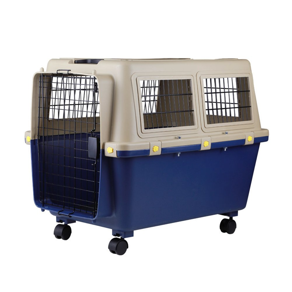 Luxurious Thicken Top-Load Pet Kennel Dogs Carrier Crate with Door Lock & Lockable Universal Wheels Portable Airline Approved Deep Blue - up to 88 lbs 805658.5cm