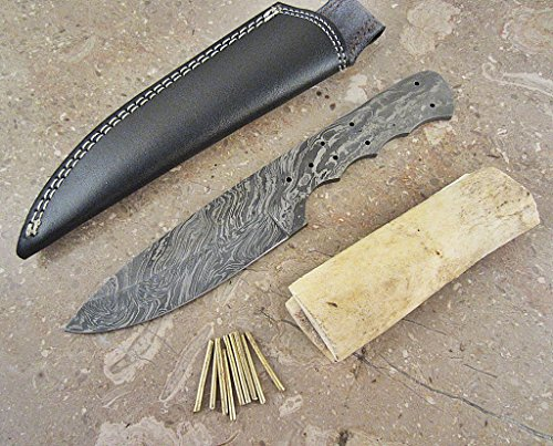 ColdLand Knives Damascus Knife Kit Custom Handmade Damascus Steel Full Tang Blank Blade with Brass Pins, Leather Sheath, Camel Bone Scales for Knife Making Supplies SK39-B