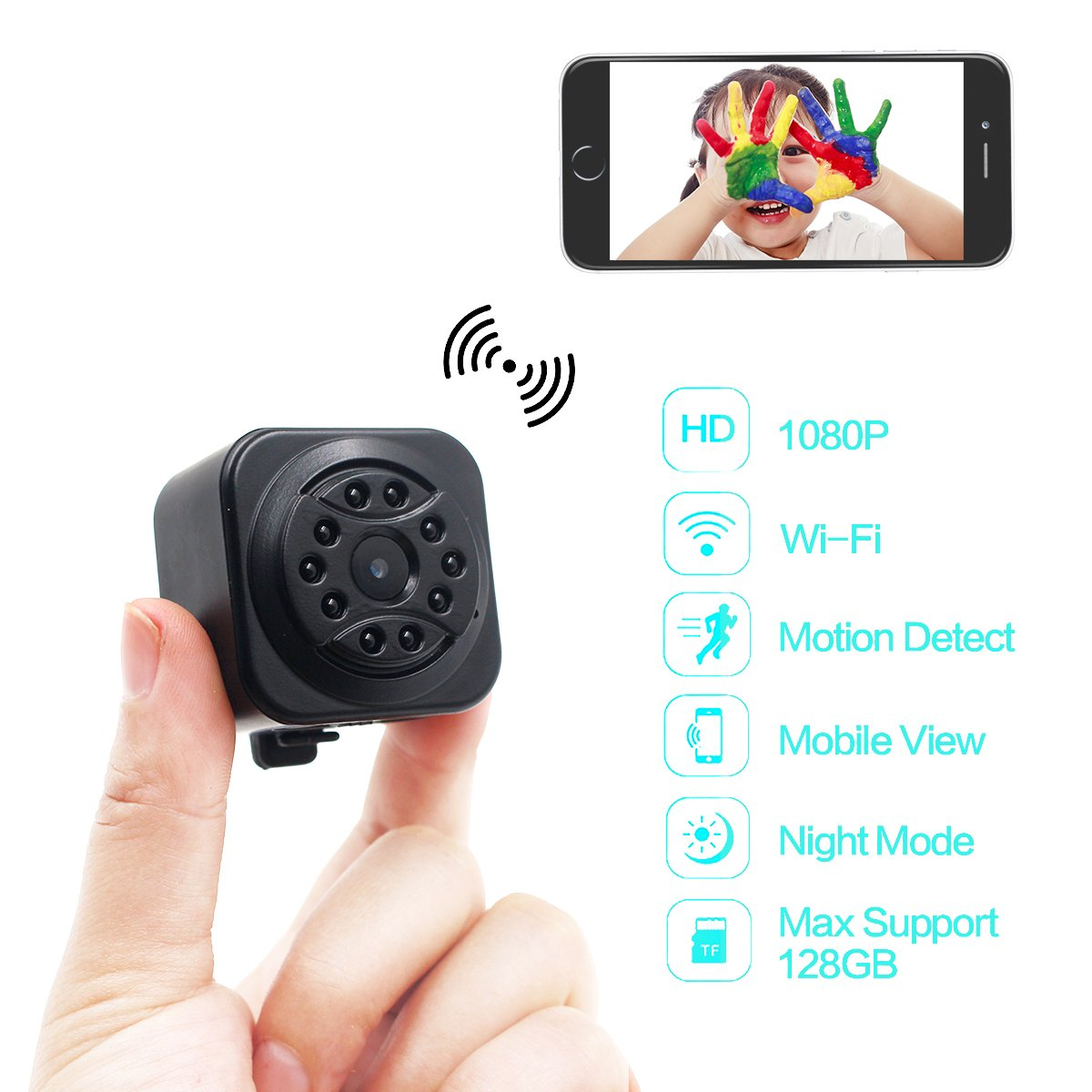 DareTang 1080p Mini Size Wireless Camera,Small Wifi Hidden Camera for iPhone/Android Phone/iPad Remote View with Motion Detection,10pcs Ir Super Night Vision