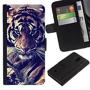KingStore / Leather Etui en cuir / Samsung Galaxy S5 Mini, SM-G800 / Filtrez Fur Roar Big Cat