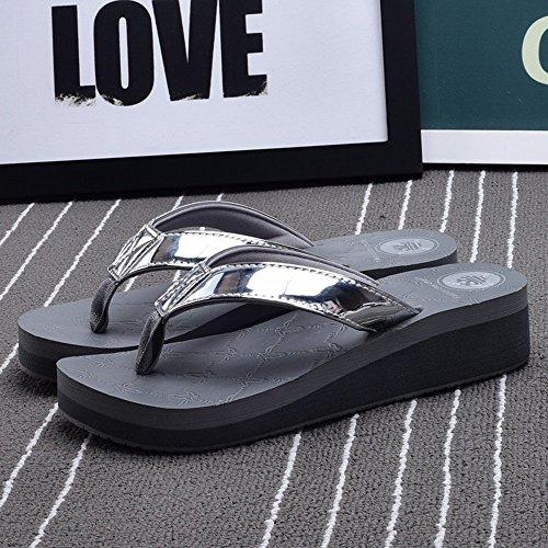 confortevole elegante CN36 CN37 Cool pantofole Beach UK4 LISABOBO EU36 UK4 Estate grigio 5 Colore 4 bianco Grigio skid Dimensioni anti nero pantofole donna nuova EU37 moda Aq6wqB4OR