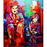 Hand-painted CHARLIE CHAPLIN Portrait Oil Painting on Canvas Pop Art wall decor oil painting wall art Portrait of artwork Pop art