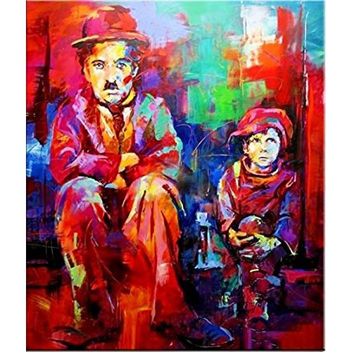 Hand-painted CHARLIE CHAPLIN Portrait Oil Painting on Canvas Pop Art wall decor oil painting wall art Portrait of artwork Pop art by Fchen Art