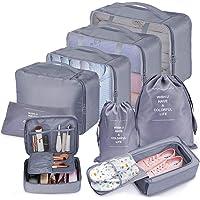 Koffer Organizer Set 9-teilig, kleidertaschen für Kleidung Kosmetik Schuhbeutel Kabel Aufbewahrungstasche, Reisen Organizer Tasche Blau