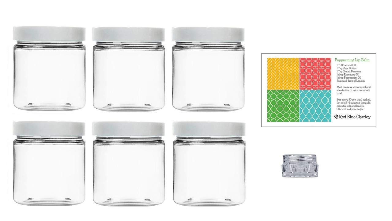 Clear 4 oz Plastic Jars with White Lids 6 pk with Balm Jar – PET Round Refillable Containers