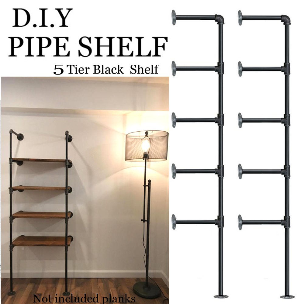 Industrial Retro Wall Mount iron Pipe Shelf,DIY Open Bookshelf,Hung Bracket,Home Improvement Kitchen Shelves,Tool Utility Shelves, Office shelves, bookshelves and bookcases (2Pcs)