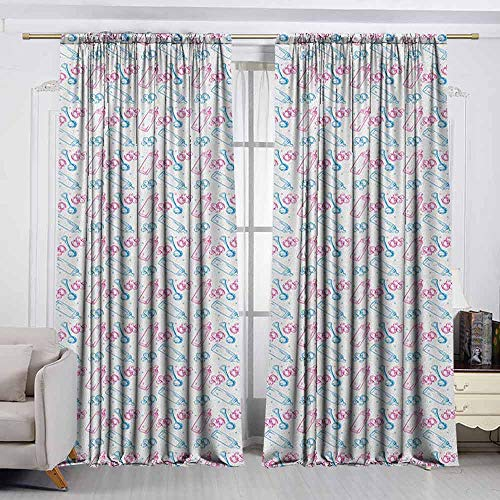 VIVIDX Rod Pocket Drapes and Curtain,Baby,Milk Bottles Pacifiers Rattles Pattern Hand Drawn Baby Toys Themed Ornate Image,Great for Living Rooms & Bedrooms,W55x45L Inches Pink Blue White