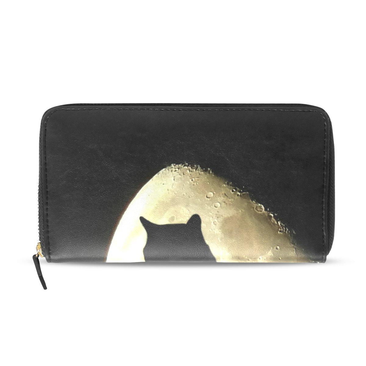 ea8f66061ed9 Womens Zipper Wallet Halloween Black Cat Moonlight Clutch Purse Card ...