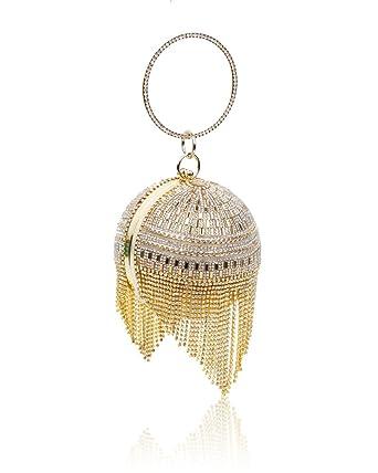 af8adc9fa7 Ladies Ball Shape Diamante Evening Clutch Bag/Womens Bridal Prom Wedding  Party With Crystal Tassels Handbag Size 11.5x12x9.5 cm: Amazon.co.uk:  Clothing
