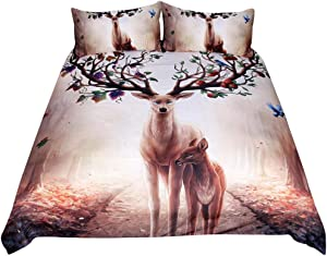 Feelyou Kids Deer Duvet Cover Set 3D Animal Pattern Comforter Cover Set Cute Antlers Decor Bedding Set Twin Size Wildlife Style Tree Floral Print Quilt Cover with 1 Pillow Shams, Zipper Soft