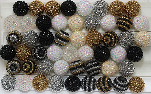 20mm Mix of 52 Black, White, Silver, Gold Cream Rhinestone Chunky Bubblegum Beads 9 Colors Resin Gumball Loose Beads Lot - Silver Resin Ball