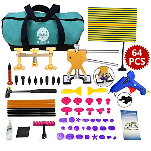 Gliston 64 PCS Dent Puller Kits Golder Dent Lifter Reflector Board Pops a Dent Glue Puller with Bag for Auto Body Hail Dent Repair