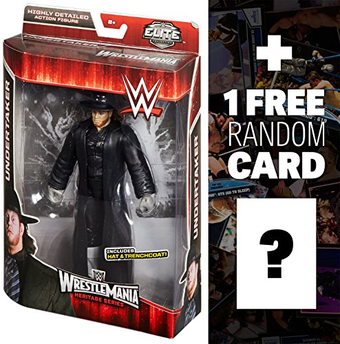 Undertaker w/ Hat & Trench Coat: ~7.5'' WWE Elite Collection Action Figure Series + 1 FREE Official WWE Trading Card Bundle by WWE