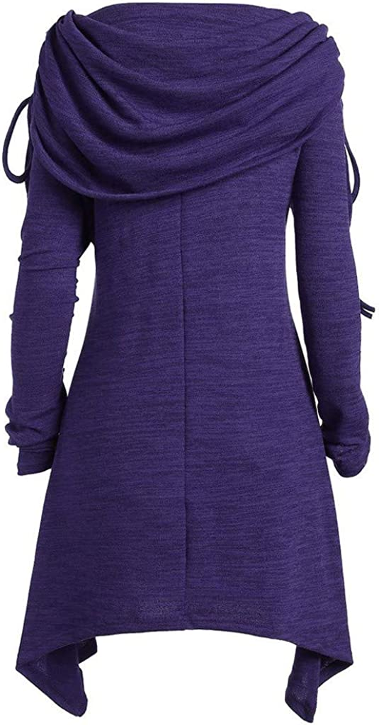HARRYSTORE Womens Plus Size Long Sleeve Fold-Over Collar Ruched Long Tunic Tops Adjustable Cowl Pullover Shirt Dress
