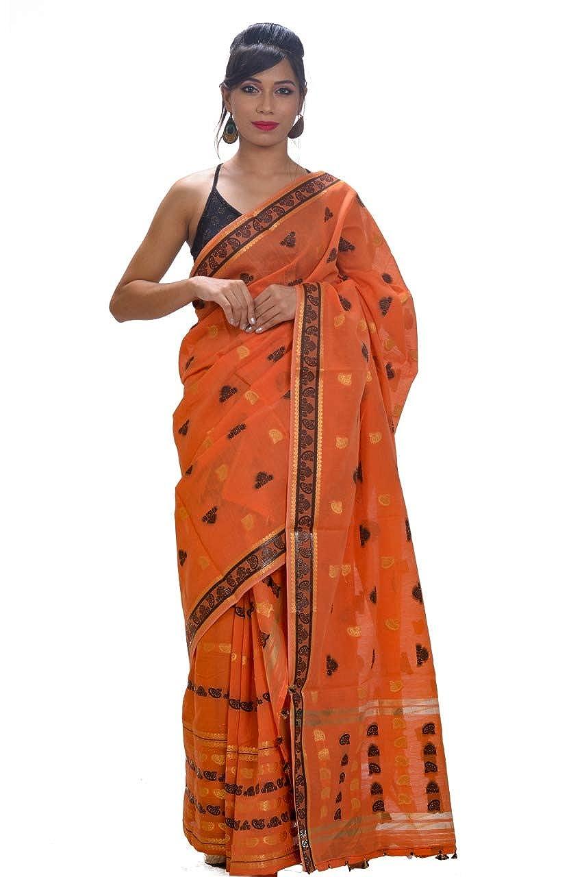 Mayuri Silk Palace - Orange Assam Cotton Mekhela Chadar